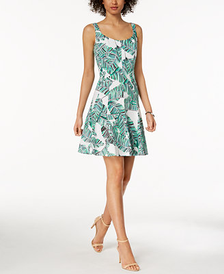 Floral Printed Fit & Flare Dress, Created For Macy's by Nine West