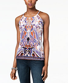 I.N.C. Petite Printed Embellished Keyhole Halter Top, Created for Macy's