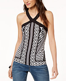 I.N.C. Printed Crossover Halter Top, Created for Macy's