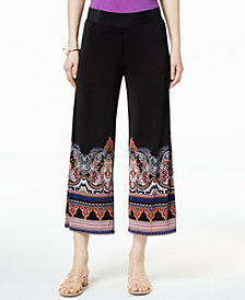 I.N.C. Cropped Printed-Hem Pull-On Pants, Created for Macy's