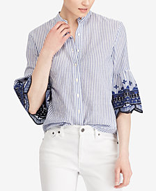 Lauren Ralph Lauren Embroidered Bell-Sleeve Shirt