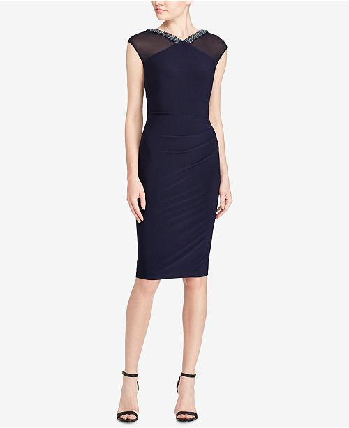 Lauren Ralph Lauren Slim Fit V-Neck Dress - Dresses - Women - Macy s aa45175ef