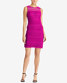 Lauren Ralph Lauren Sheer-Yoke Lace Dress