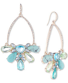 Carolee Gold-Tone Pavé & Multi-Stone Drop Hoop Earrings