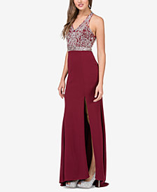 Dancing Queen Juniors' Embellished Side-Slit Column Gown