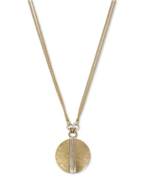 """Robert Lee Morris Soho Two-Tone Wire-Wrapped Pendant Necklace, 17"""" + 3"""" extender"""