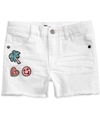 Little Girls Frayed-Hem Patch Shorts, Created for Macy's