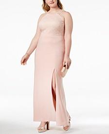 Plus Size Lace-Bodice Halter Gown