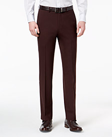 Ryan Seacrest Distinction™ Men's Slim-Fit Stretch Burgundy Solid Suit Pants, Created for Macy's