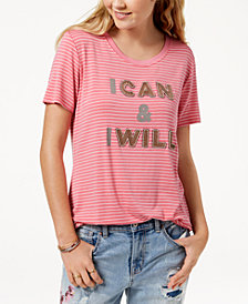 True Vintage Striped Sequin-Graphic T-Shirt