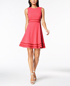 Calvin Klein Corded-Trim Fit & Flare Dress, Regular & Petite