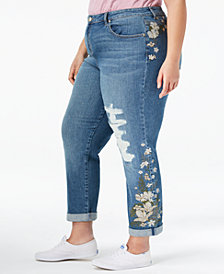 Style & Co Plus Size Embroidered Distressed Boyfriend Ankle Jeans, Created for Macy's