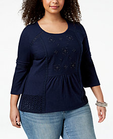 Style & Co Plus Size Embroidered Eyelet-Trim Top, Created for Macy's