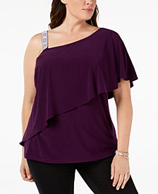 MSK Plus Size Embellished-Strap Asymmetrical Top