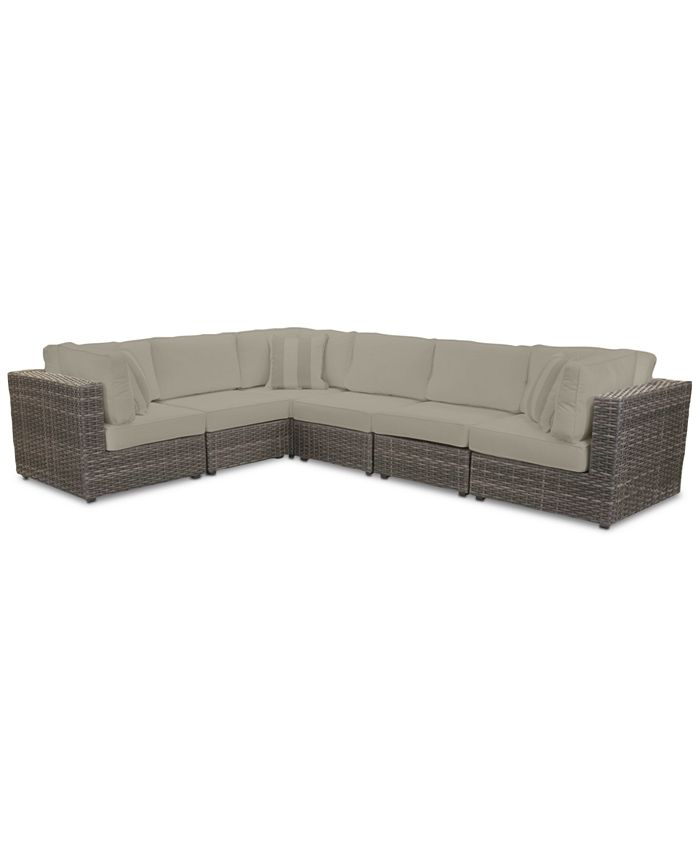 Furniture - Viewport Outdoor 6-Pc. Modular Seating Set (3 Corner Units and 3 Armless Units) with Sunbrella® Cushions