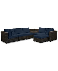 Viewport Outdoor 7-Pc. Modular Seating Set (2 Corner Units, 3 Armless Units, 1 Corner Table and 1 Ottoman) with Custom Sunbrella® Cushions, Created for Macy's