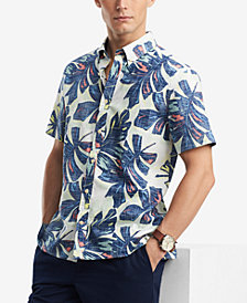 Tommy Hilfiger Men's Tropical Print Classic Fit Button-Down Shirt, Created for Macy's
