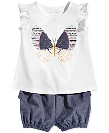 First Impressions Baby Girls Butterfly-Print T-shirt & Bloomer Shorts Separates, Created for Macy's