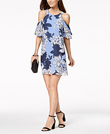 Vince Camuto Floral Print Ruffled Cold-Shoulder Dress