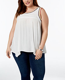 John Paul Richard Plus Size Crochet-Trim Tank Top