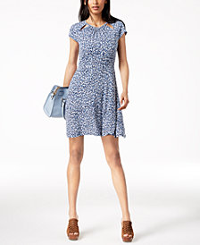 MICHAEL Michael Kors Cutout Fit & Flare Dress in Regular & Petite Sizes