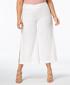 NY Collection Plus Size &  Petite Plus Size Split Wide-Leg Cropped Pants