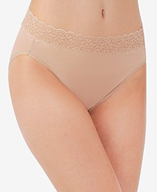 Flattering Lace Cotton Stretch Hi-Cut Brief Underwear 13395, Extended Sizes