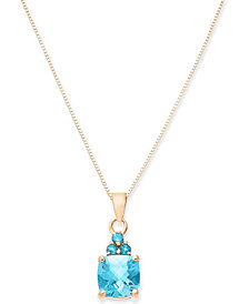 "Blue Topaz 18"" Pendant Necklace (1-9/10 ct. t.w.) in 14k Gold"