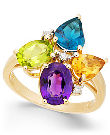 Multi-Gemstone (4 ct. t.w.) & Diamond Accent Ring in 14k Gold