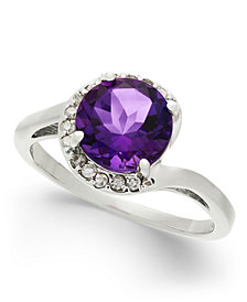 Amethyst (1-3/4 ct. t.w.) & Diamond (1/10 ct. t.w.) Swirl Ring in Sterling Silver