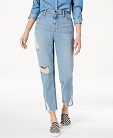 Black Daisy Juniors' Ripped Cropped Mom Jeans