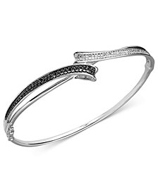 Black and White Diamond Bypass Bangle Bracelet in Sterling Silver (1/4 ct. t.w.)
