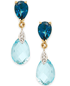 Blue Topaz (6-5/8 ct. t.w.) & Diamond Accent Drop Earrings in 14k Gold