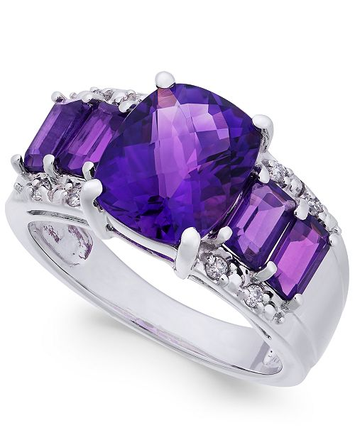 Macy's Amethyst (4 ct. t.w.) & Diamond Accent Ring in 10K White Gold