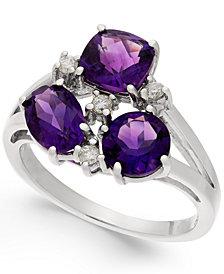 Amethsyt (2-1/2 ct. t.w.) & Diamond (1/10 ct. t.w.) Split Shank Ring in Sterling Silver
