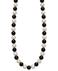 Cultured Freshwater Pearl (7-1/2-8-1/2mm) and Onyx (85 ct. t.w.) Strand Necklace in 14k Gold