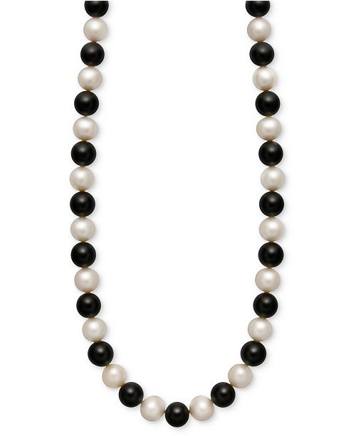 Macy's Cultured Freshwater Pearl (7-1/2-8-1/2mm) and Onyx (85 ct. t.w.) Strand Necklace in 14k Gold