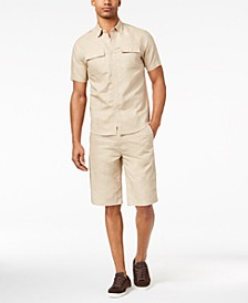 Men's Epaulette Shirt & Shorts Separates, Created for Macy's