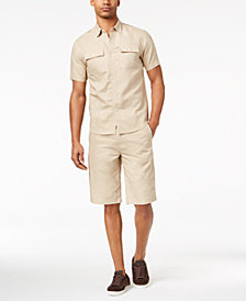 Sean John Men's Epaulette Shirt & Shorts Separates, Created for Macy's