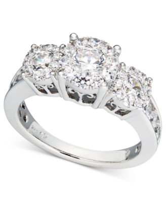 diamond engagement ring in 14k white gold 2 ct tw rings jewelry watches macys - Macy Wedding Rings