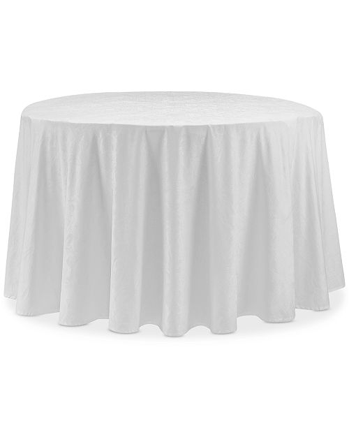 "Waterford Camille White 90"" Round Tablecloth"