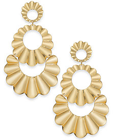 kate spade new york Gold-Tone Scalloped Triple Drop Earrings
