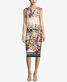 ECI Floral-Print Sheath Dress