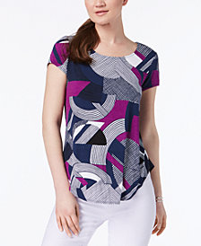 Alfani Petite Printed Shirttail-Hem Top, Created for Macy's