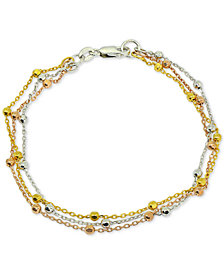 Giani Bernini Tricolor Beaded Bracelet in Sterling Silver, 18k Gold-Plate & 18k Rose Gold-Plate, Created for Macy's