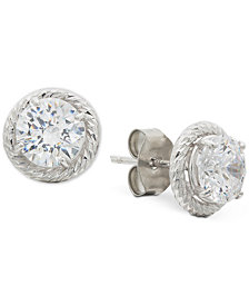 Giani Bernini Cubic Zirconia Rope-Framed Stud Earrings in Sterling Silver, Created for Macy's