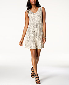 Style & Co Petite Cross-Back Printed Swing Dress, Created for Macy's