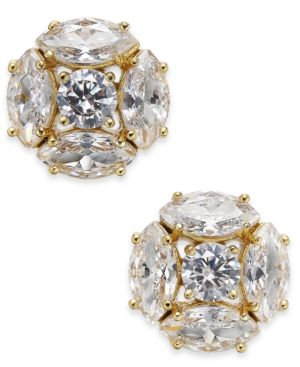 Flying Colors Marquise Cluster Earrings, Clear/Gold