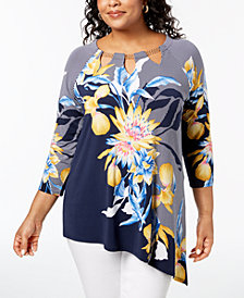 JM Collection Plus Size Printed Asymmetrical Hem Top, Created for Macy's