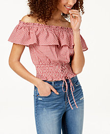 American Rag Juniors' Off-The-Shoulder Gingham Top, Created for Macy's